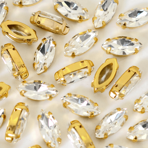 Navete Engrampado para costura Supreme Cristal Dourado 15x7mm