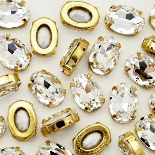 Oval Engrampado para costura Supreme Cristal Dourado 18x13mm