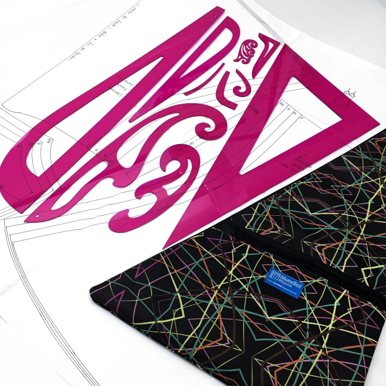 Réguas de modelagem - Kit 10 und. Acrílico pink (com bolsa)