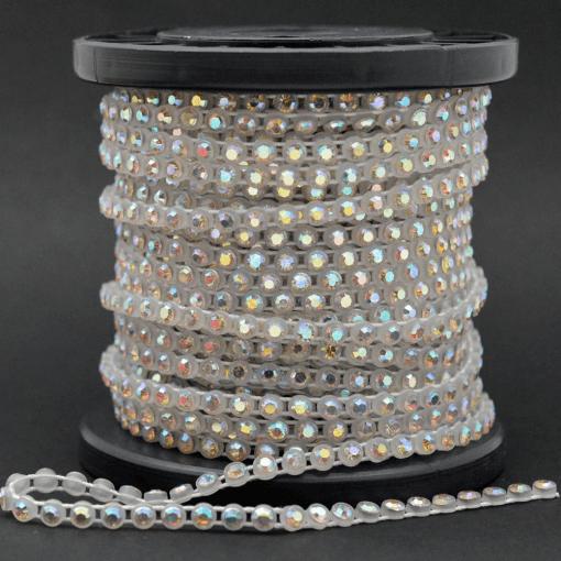 Strass em fio Plástico LDI Cristais® art. 81 por metro Cristal Aurora Boreal em caixa Branca (00030 AB) SS 8=2,30mm