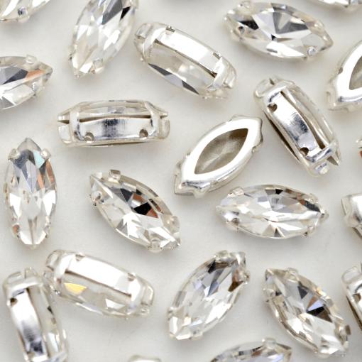 Strass Navete Engrampado para costura Supreme Cristal Níquel 15x7mm