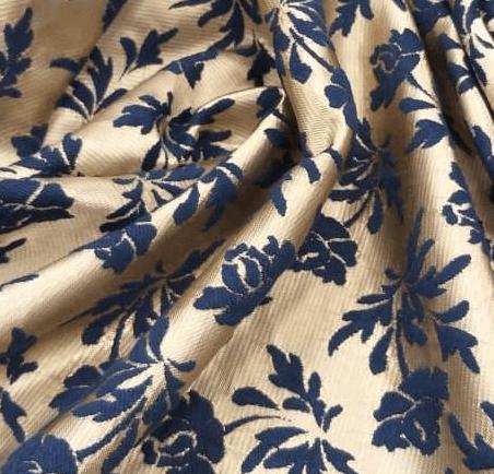 Tecido Jacquard de Poliéster Azul e Bege
