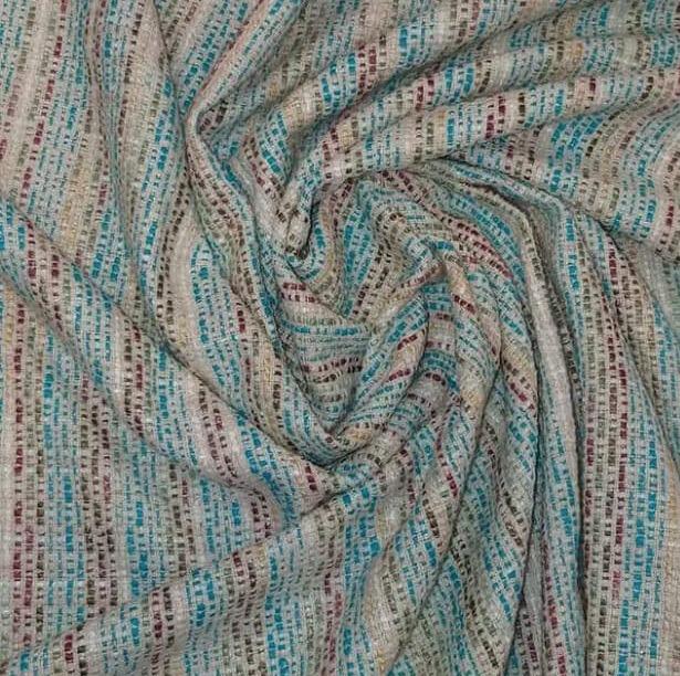 Tecido Lã Tweedy  Bege Azul e Vinho