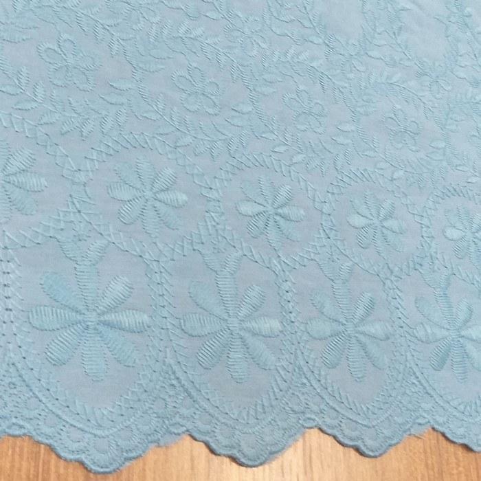 Tecido Laise Bordada Floral Azul