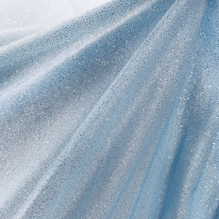 Tecido Malha Azul Bebê com Glitter Prateado