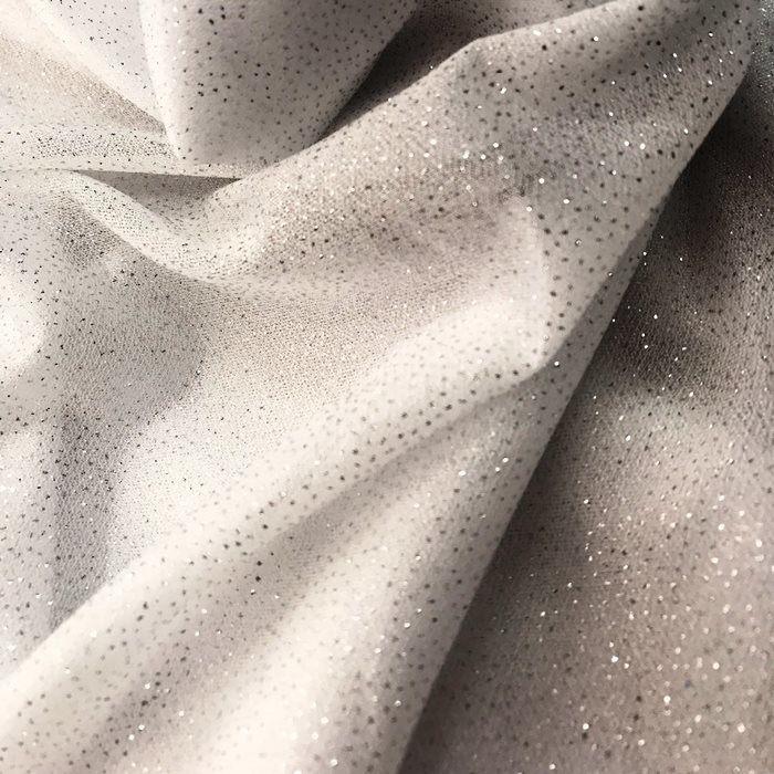 Tecido Malha Branca com Glitter Prateado