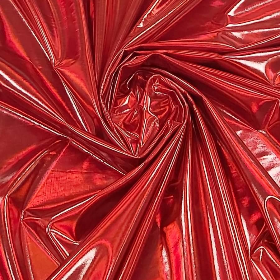Tecido Malha Vinil Holográfico Vermelho Com Elastano