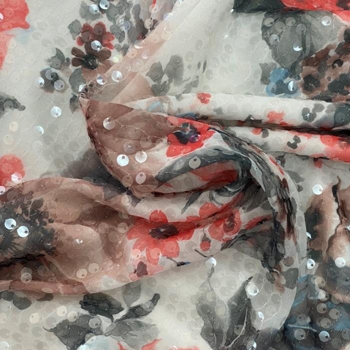 Tecido Musseline Estampada Floral com Paetê Transparente