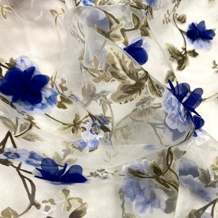 Tecido Organza Estampada com Flores 3D em Musseline Azul Royal