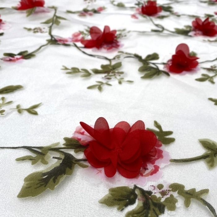 Tecido Organza Estampada com Flores 3D em Musseline Vermelho