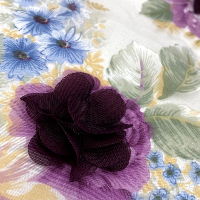 Tecido Organza Estampada com Flores 3D em Musseline Roxo
