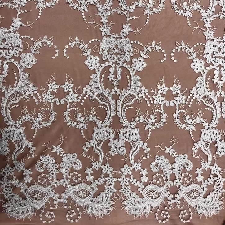 Tecido Tule Bordado Arabesco Com Paeté Branco