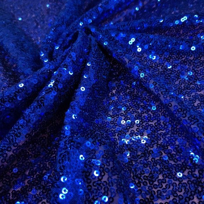 Tecido Tule Bordado com Paetês Azul Royal