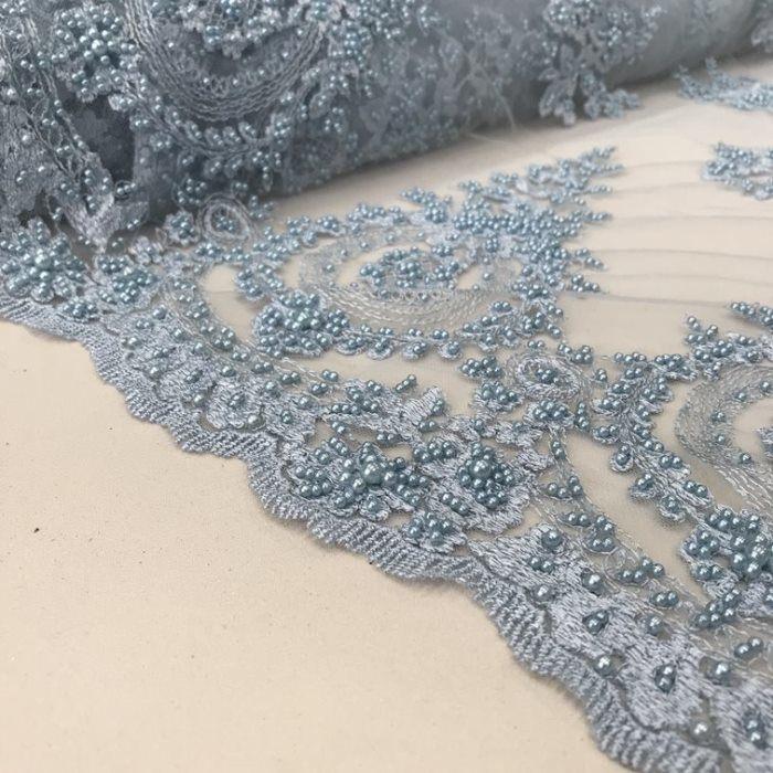 Tecido Tule Bordado com Pérolas Azul Claro