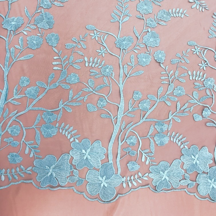 Tecido Tule Bordado Floral Delicate Azul