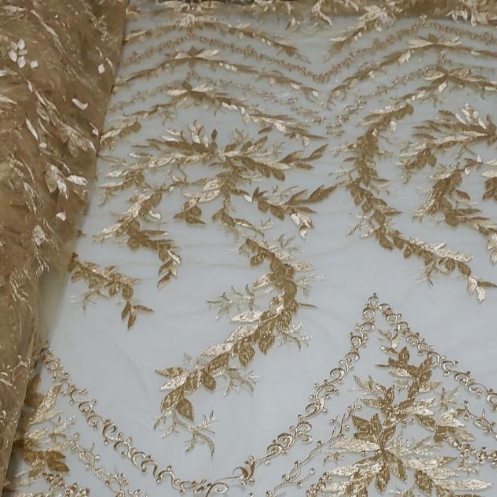 Tecido Tule Bordado Giulia Dourado
