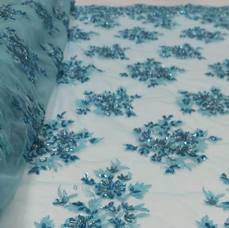 Tecido Tule Bordado Premium com Pedrarias Azul Piscina