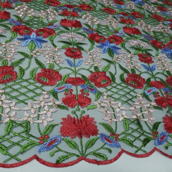 Tecido Tule Bordado Primavera Flores Vermelhas