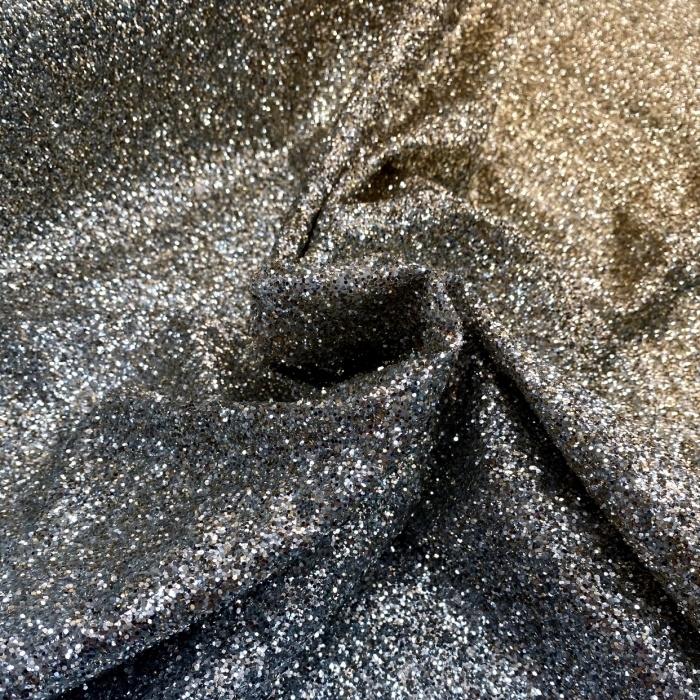 Tecido Tule com Glitter Degradê Preto e Dourado