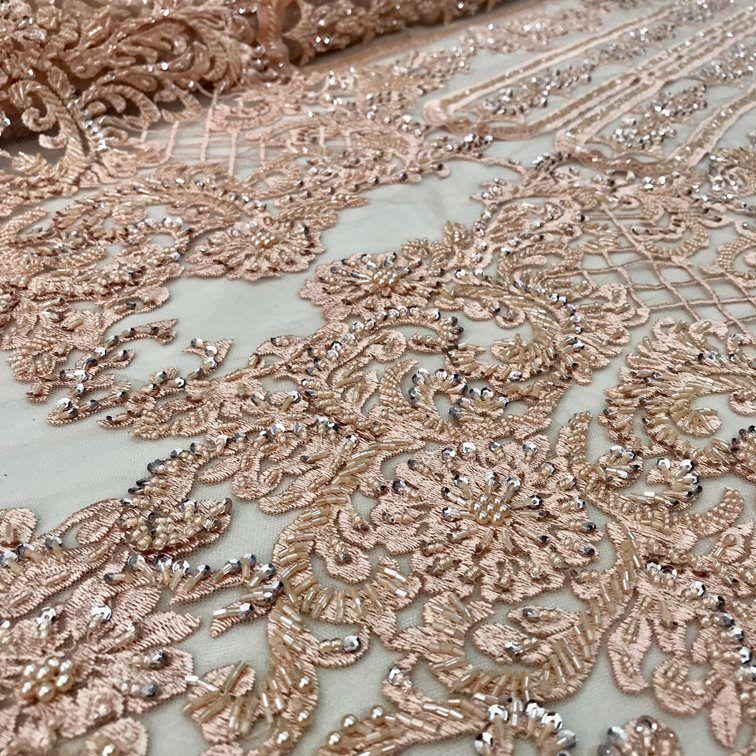 Tecido Tule Indiano Art Nouveau Bordado em Pedrarias e Mini Paetês