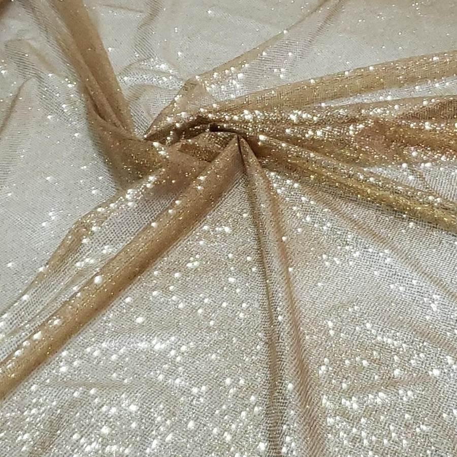 Tule Glitter Furtacor Dourado