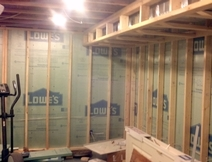 Interior finish basement insulation and framing