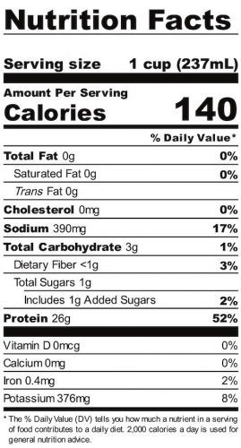 Nutrition panel for Mint Brownie Liquid Egg Whites. In full text below.