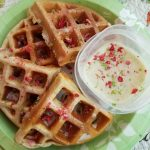 Protein waffles with fruit cereal syrup
