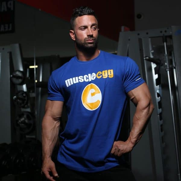 "Men's Blue MuscleEgg ""Hero"" Shirt"