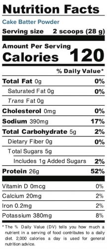 Nutrition panel for Cake Batter Powder. In full text below.