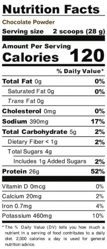 Nutrition panel for Chocolate Powder. In full text below.