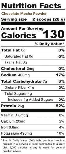Nutrition panel for Chocolate Mocha Powder. In full text below.