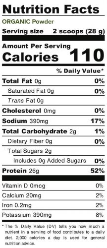 Nutrition panel for Organic Powder. In full text below.