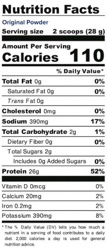 Nutrition panel for Original Powder. In full text below.
