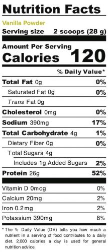 Nutrition panel for Vanilla Powder. In full text below.
