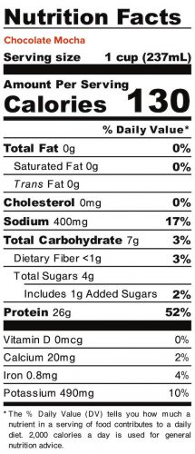 Nutrition panel for Chocolate Mocha Liquid Egg Whites. In full text below.