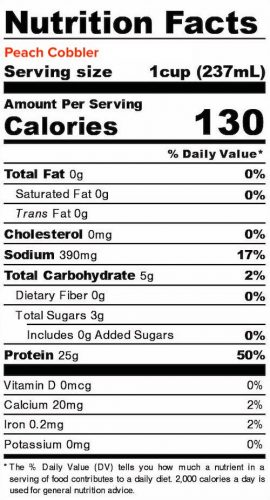 Nutrition panel for Peach Cobbler Liquid Egg Whites. In full text below.