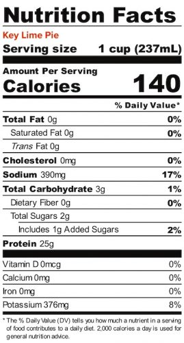 Nutrition panel for Key Lime Pie Liquid Egg Whites. In full text below.
