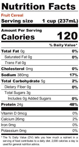 Nutrition panel for Fruit Cereal Liquid Egg Whites. In full text below.
