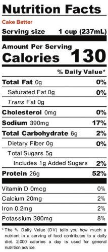 Nutrition panel for Cake Batter Liquid Egg Whites. In full text below.