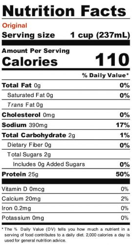 Nutrition panel for Original Liquid Egg Whites. In full text below.