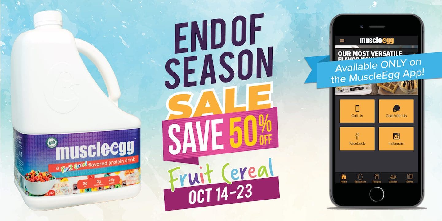 Fruit Cereal 50% off through October 23, 2019