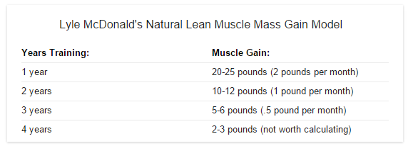 Natural muscle gain per month