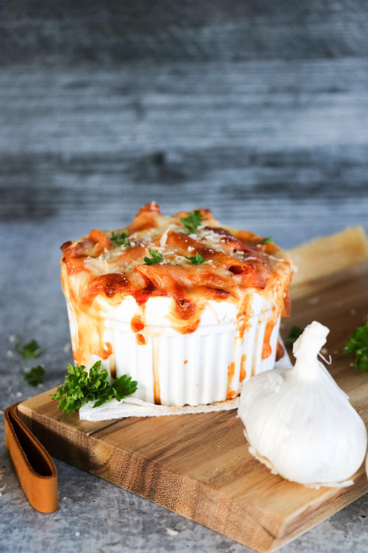 Baked Ziti in a ramekin with garlic
