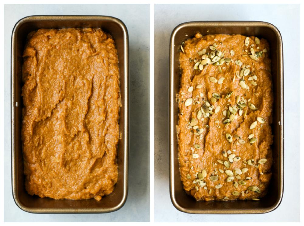 Two loaf pans with pumpkin bread batter