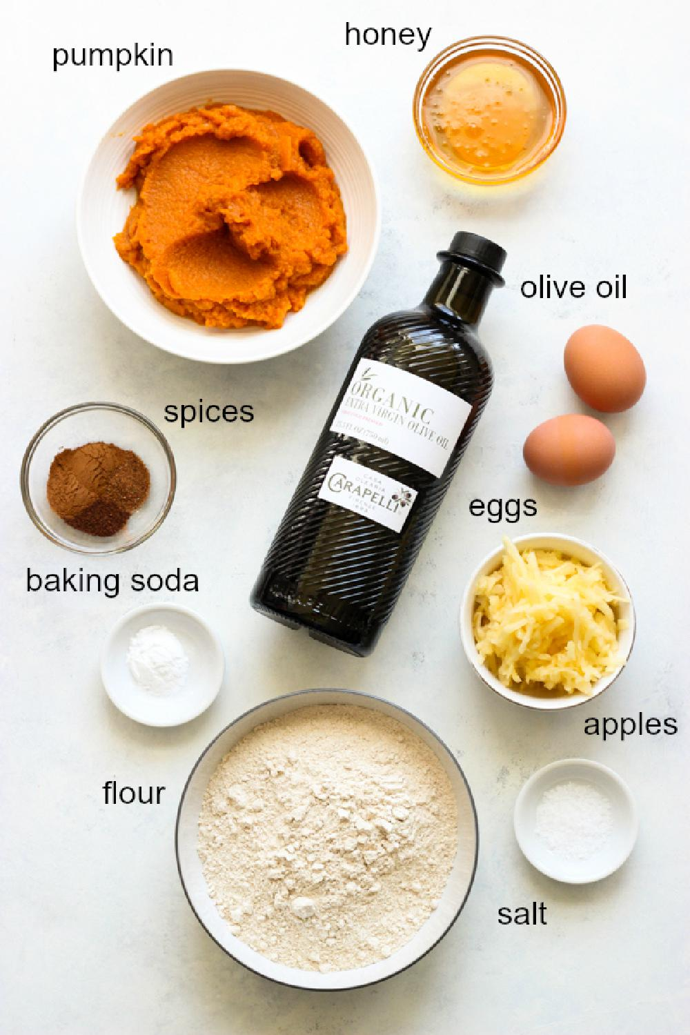 Ingredients for healthy pumpkin bread recipe