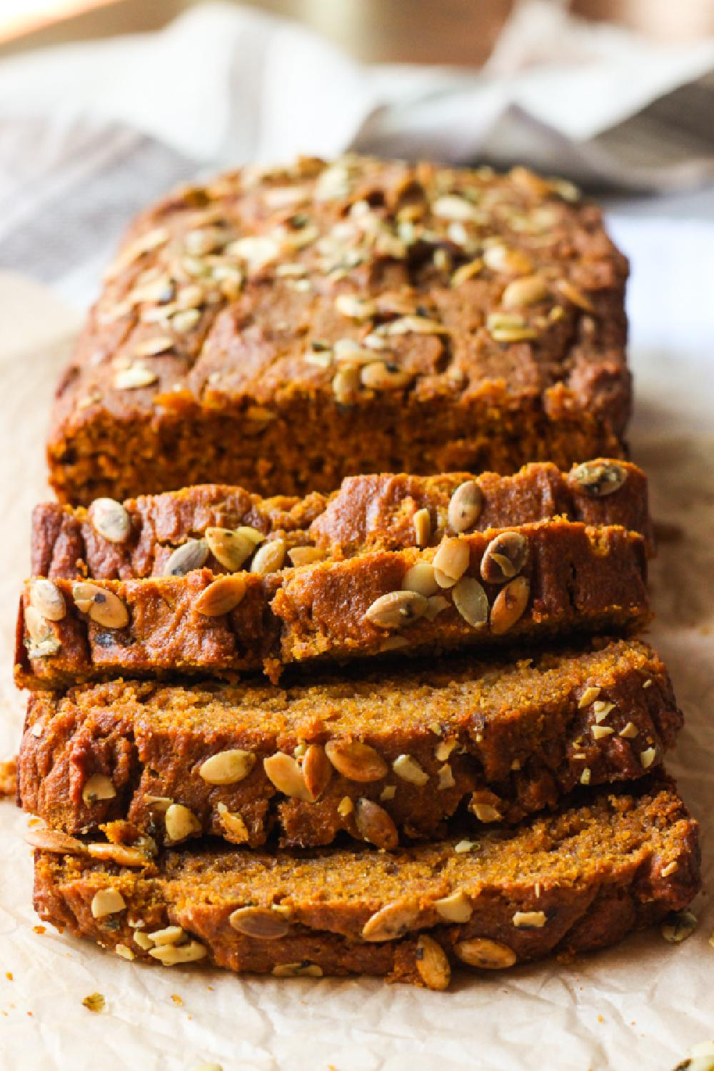 Close up of sliced pumpkin bread recipe