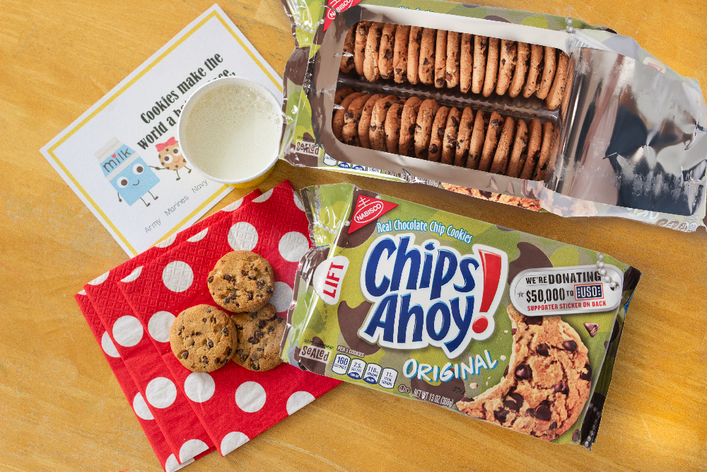 chocolate chip cookies on a napkin