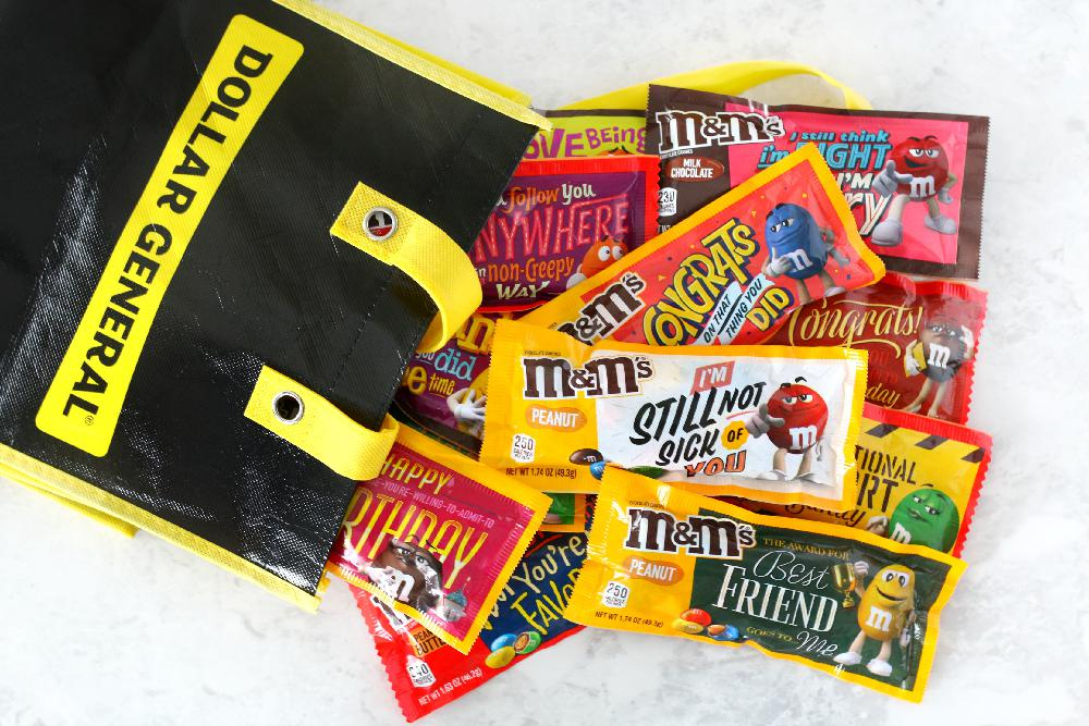 MMS candy in reusable grocery bag