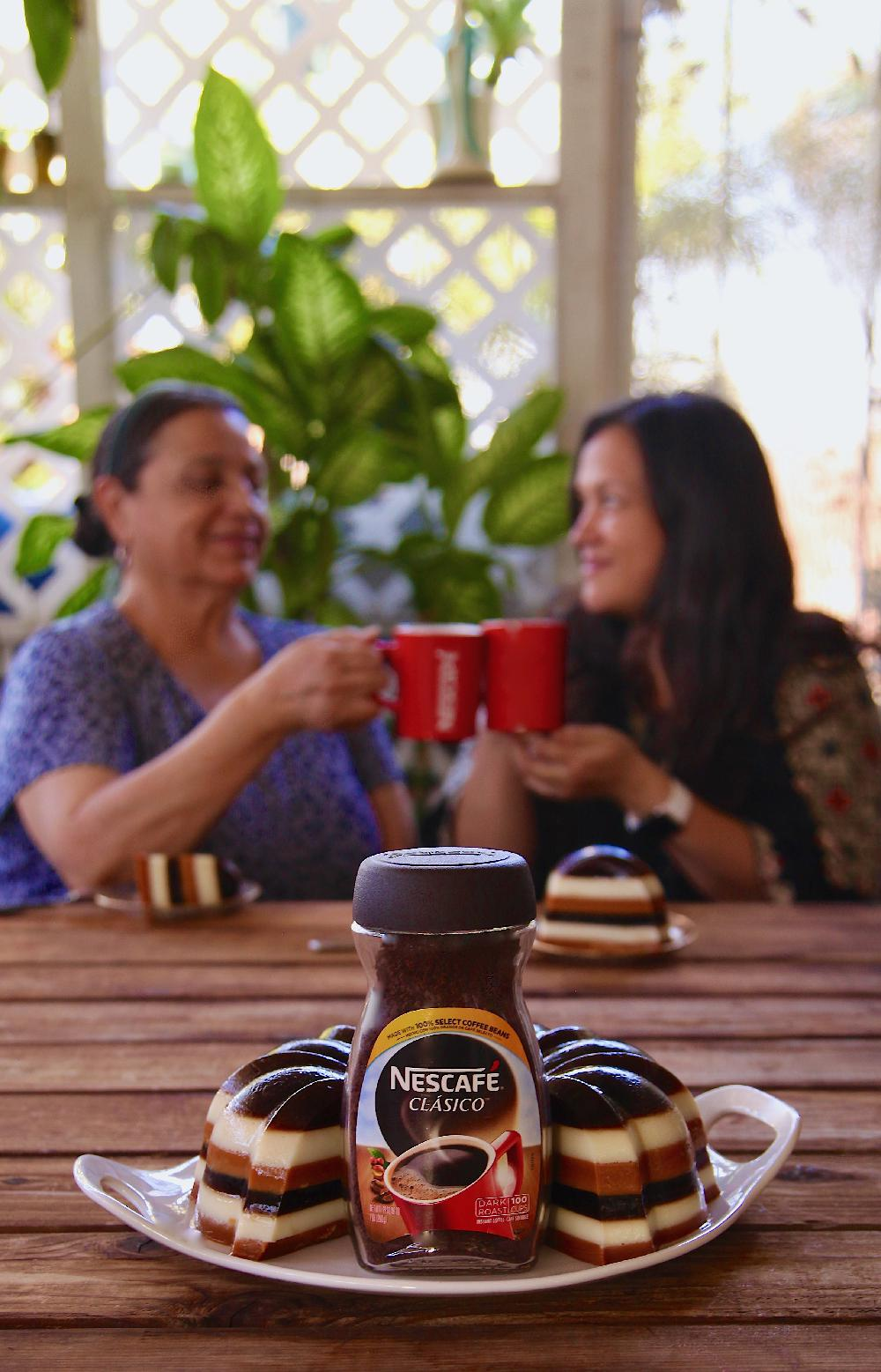 Sharing a moment with my Mom over Nescafé Clásico and gelatina.